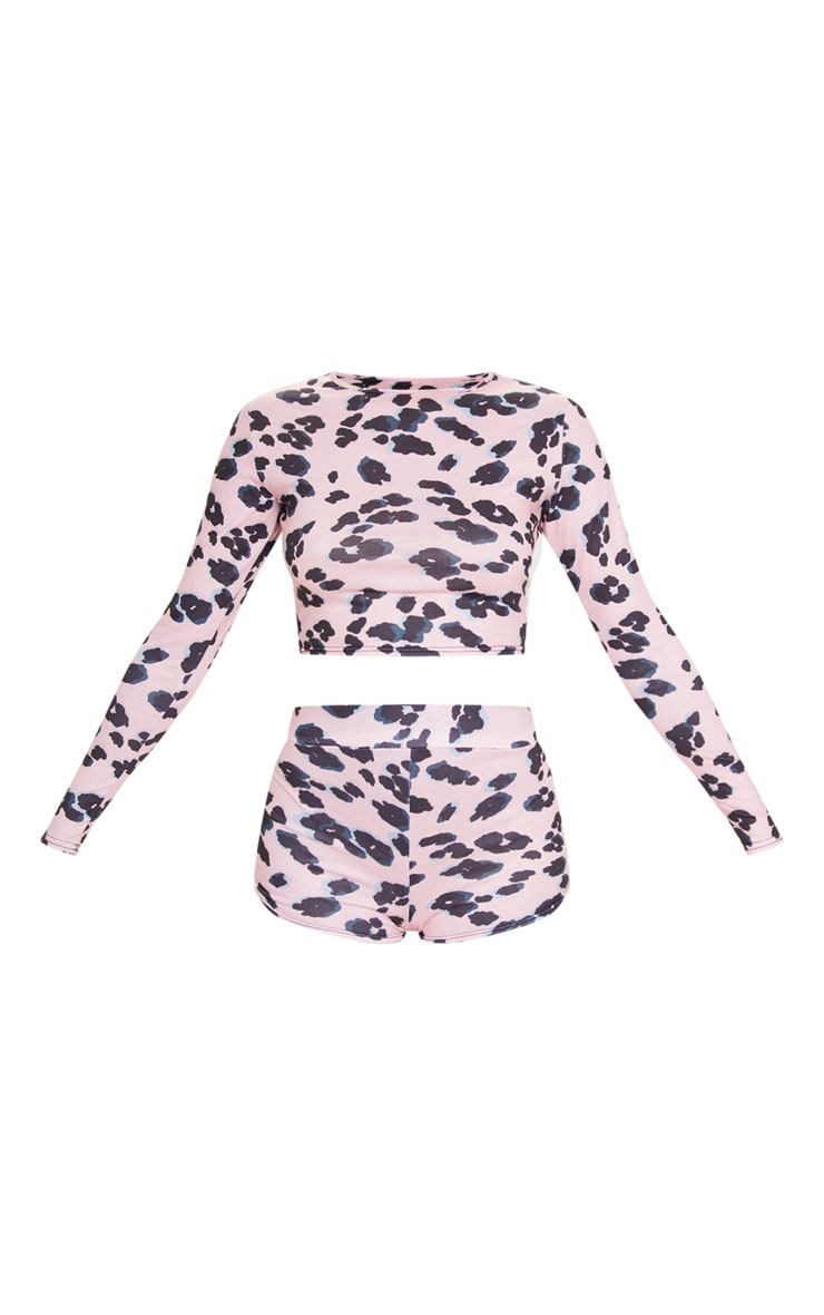 Pink Leopard Print Long Sleeve Crop And Shorts PJ Set 5