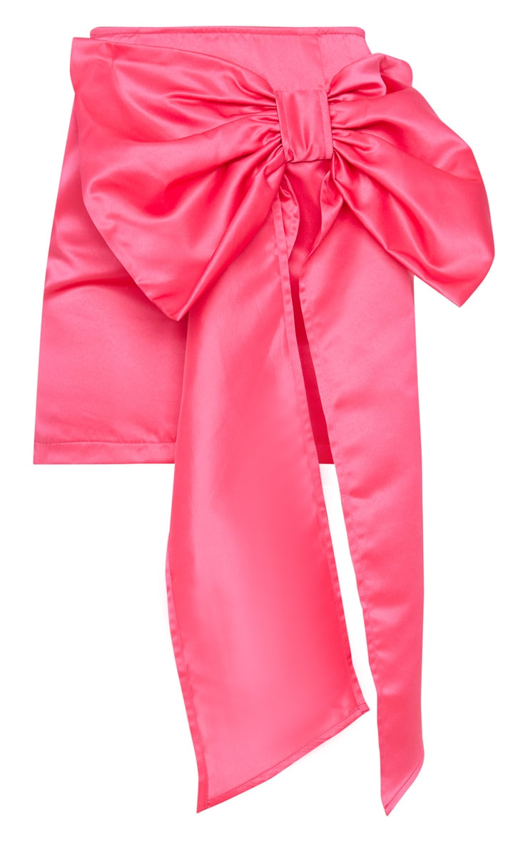 Hot Pink Satin Woven Bow Front Mini Skirt 3