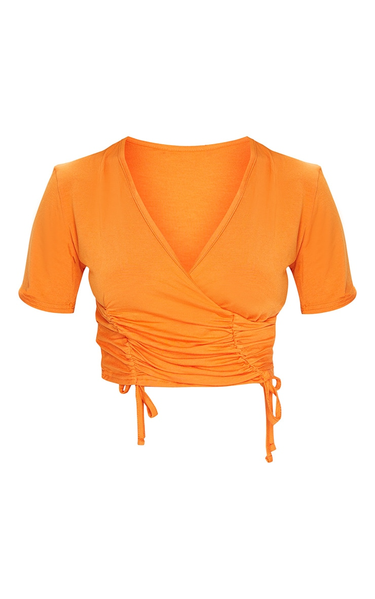 Orange Ruched Wrap Front Short Sleeve Crop Top 5