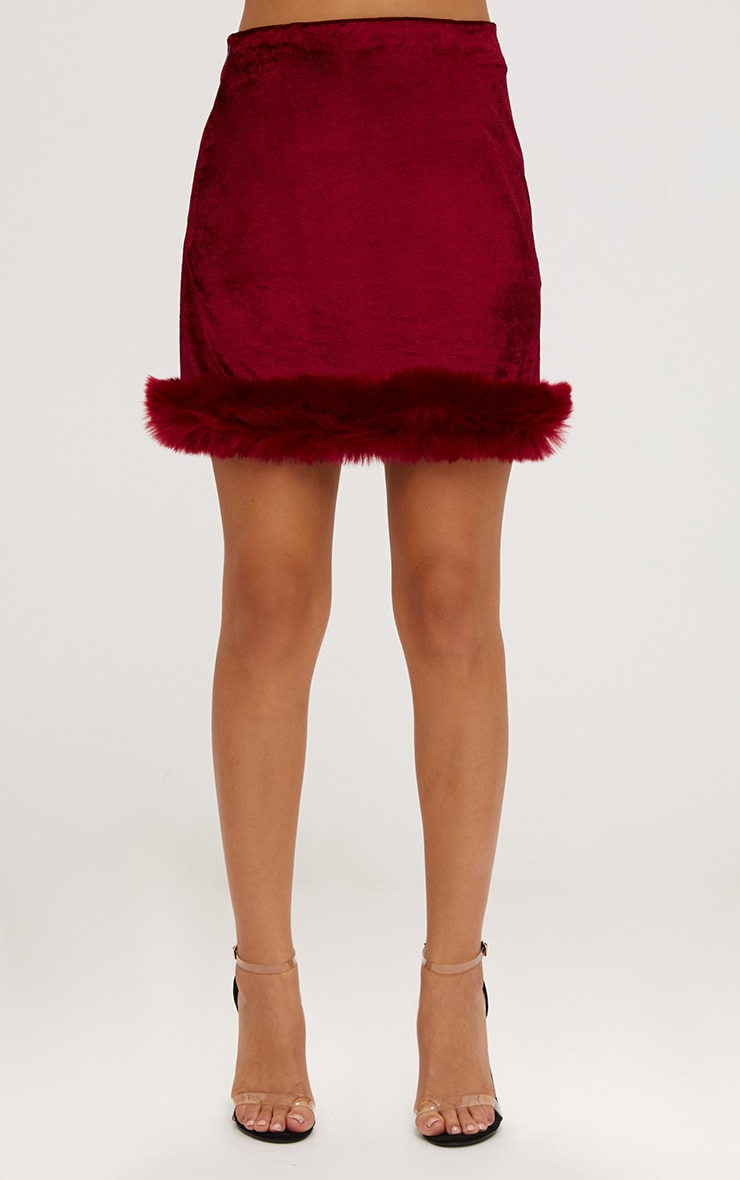 Burgundy Velvet Fur Trim Check Mini Skirt 2