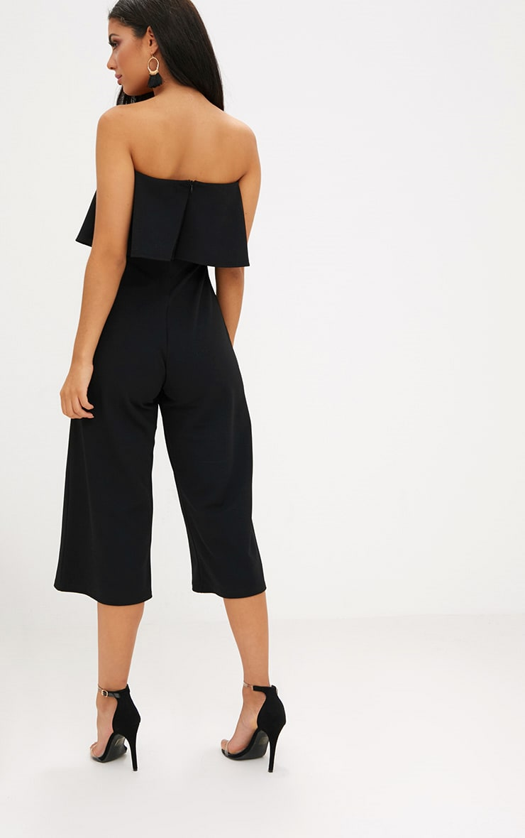 Black Bardot Double Layer Culotte Jumpsuit 2