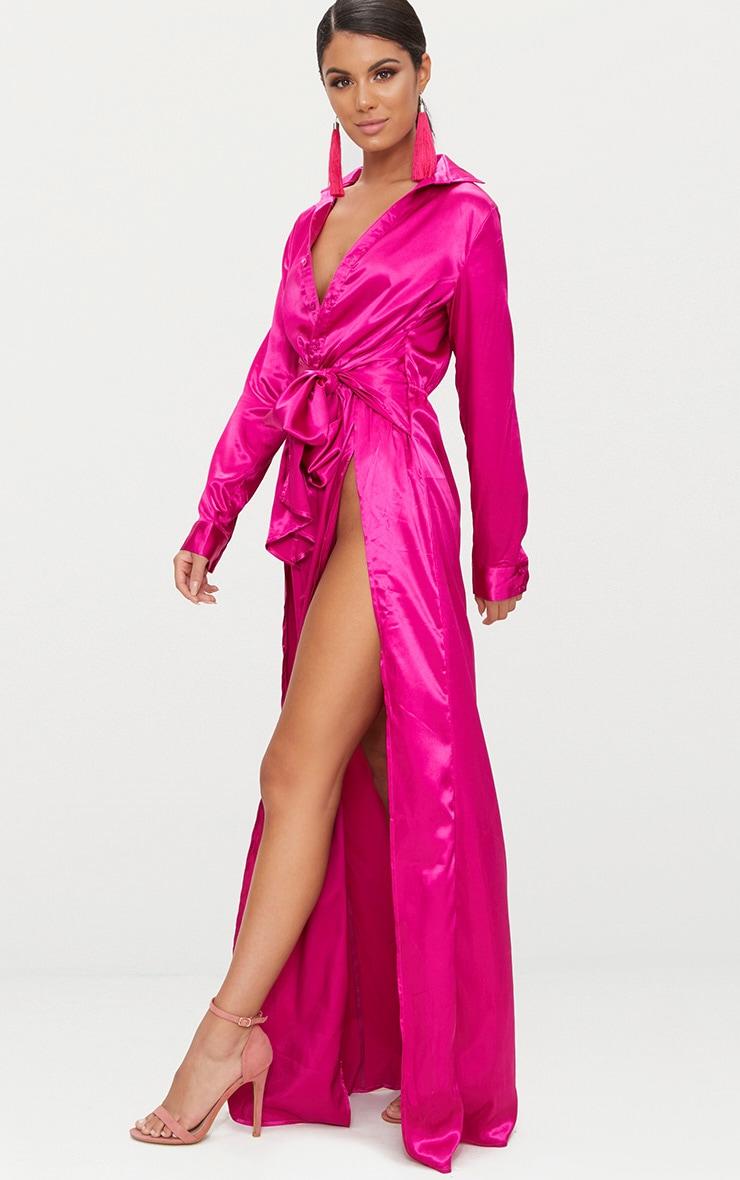 Fuchsia Pink Satin Extreme Split Waist Tie Shirt Maxi Dress 4