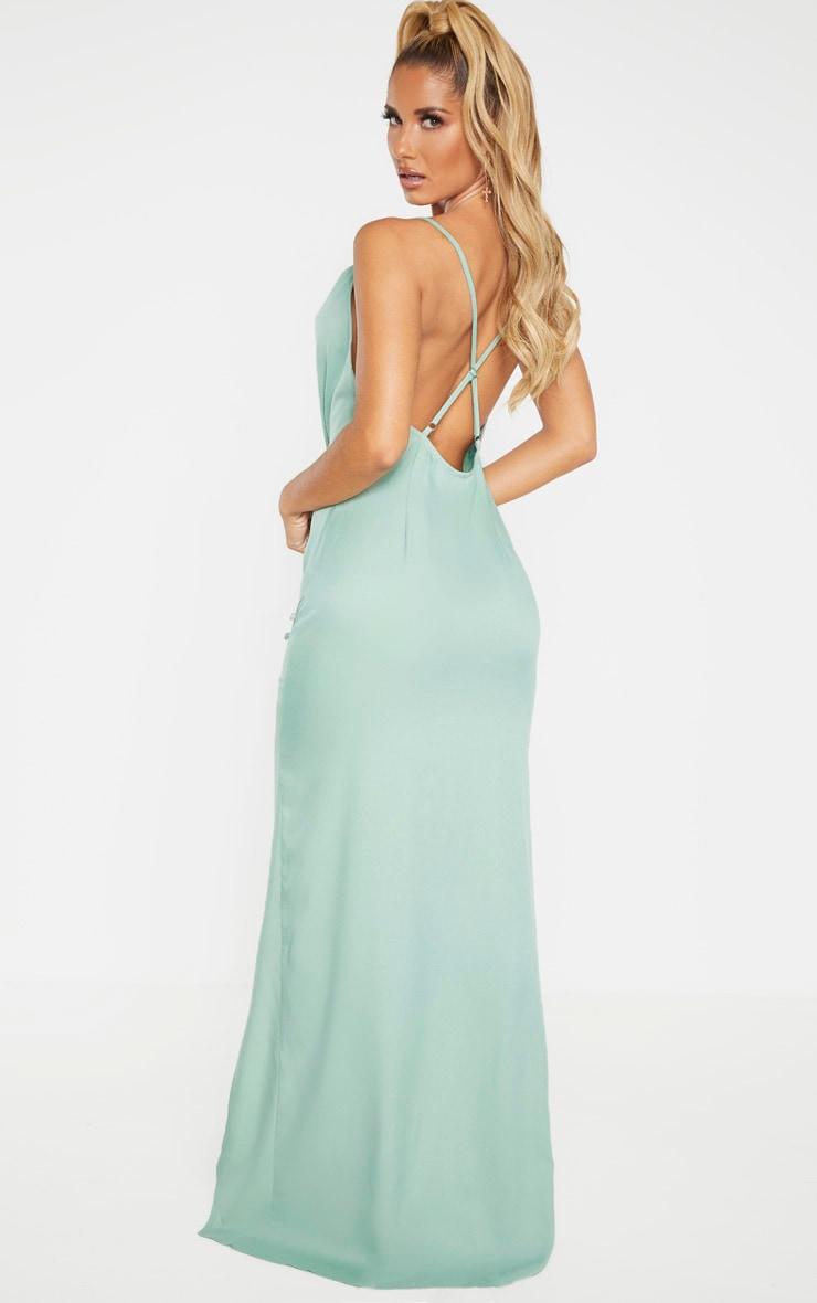 Sage Khaki Cowl Neck Button Maxi Dress  2