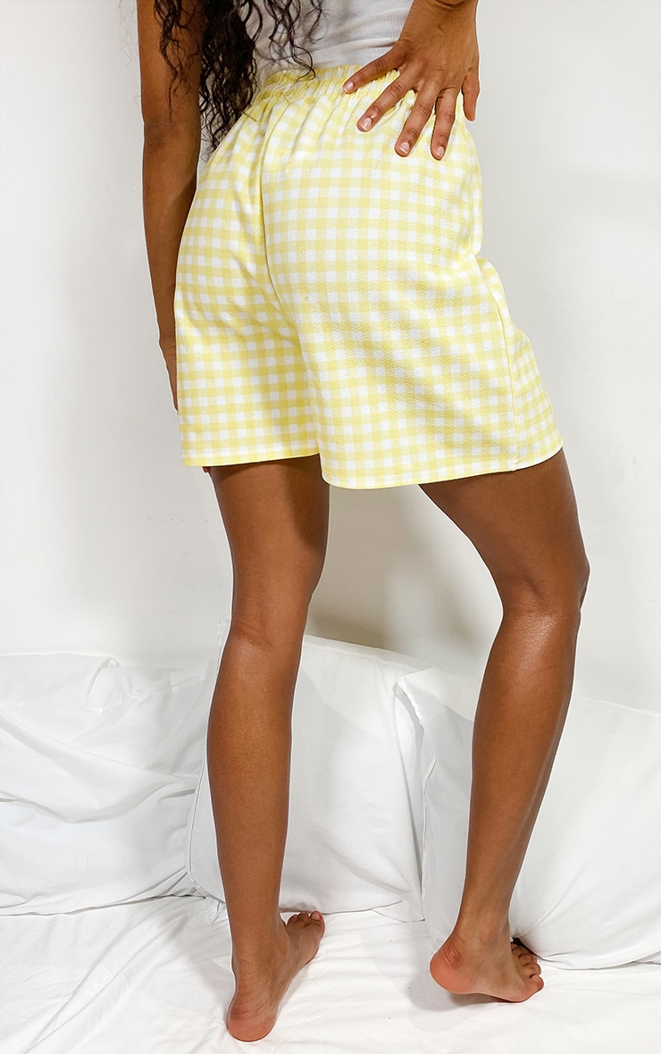 Lemon Gingham Oversized Floaty Shorts 3