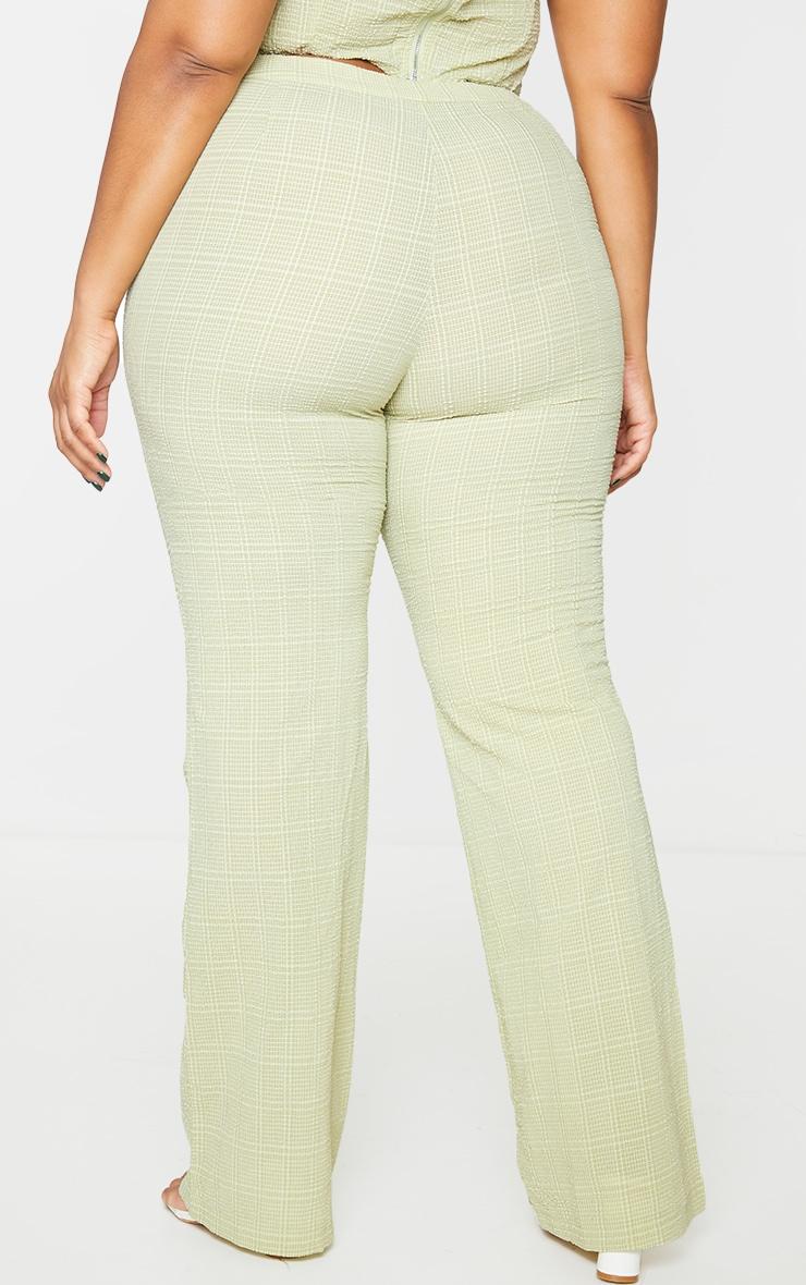 Plus Sage Green Wide Leg Textured Pants 3