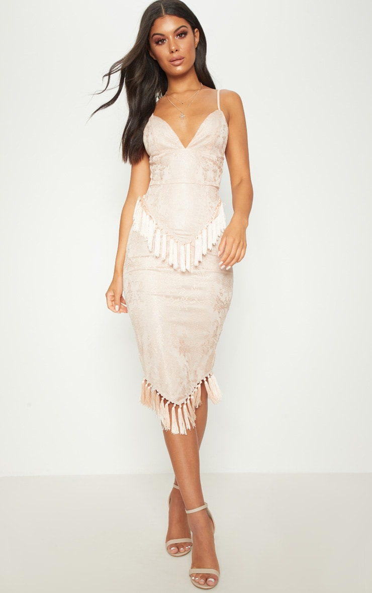 Dusty Pink Lace Tassel Trim Plunge Midi Dress