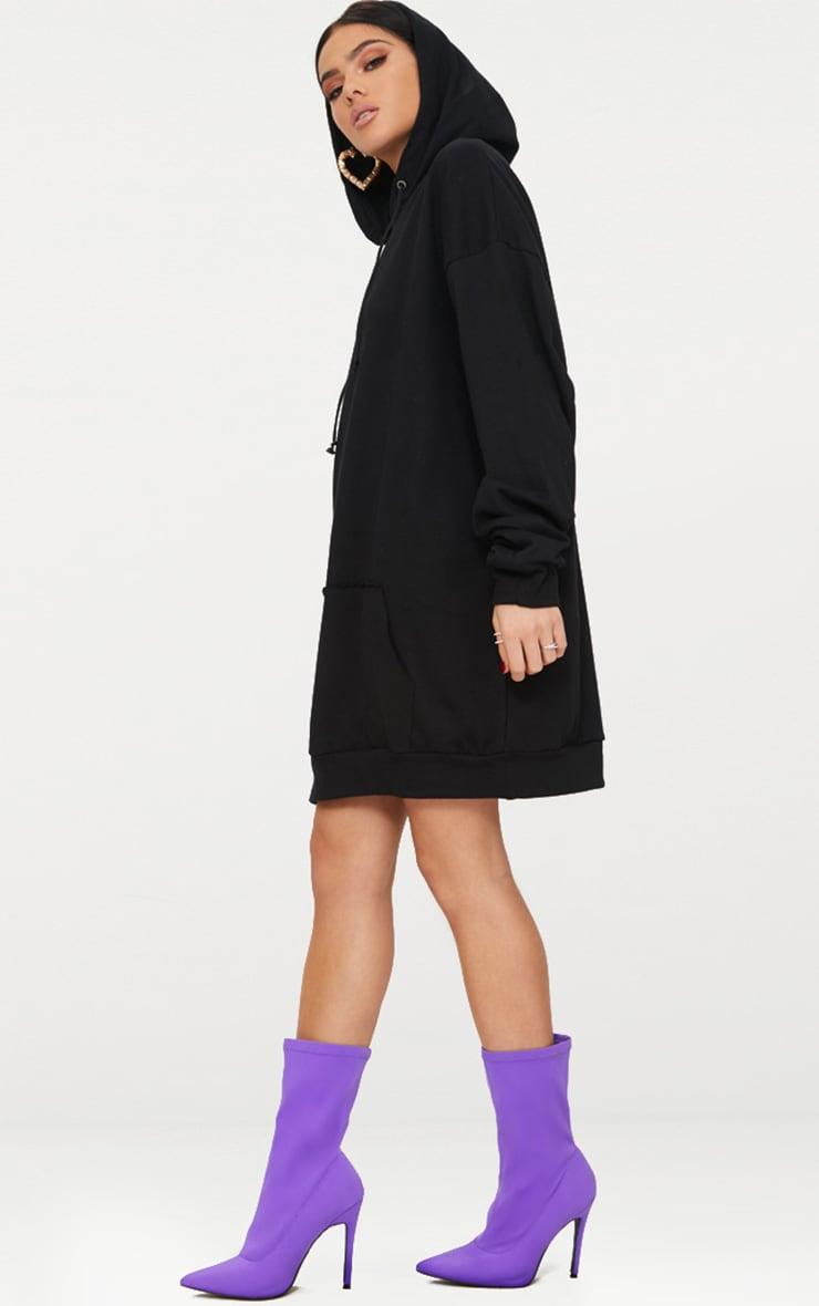 Black Oversized Hoodie Dress 3