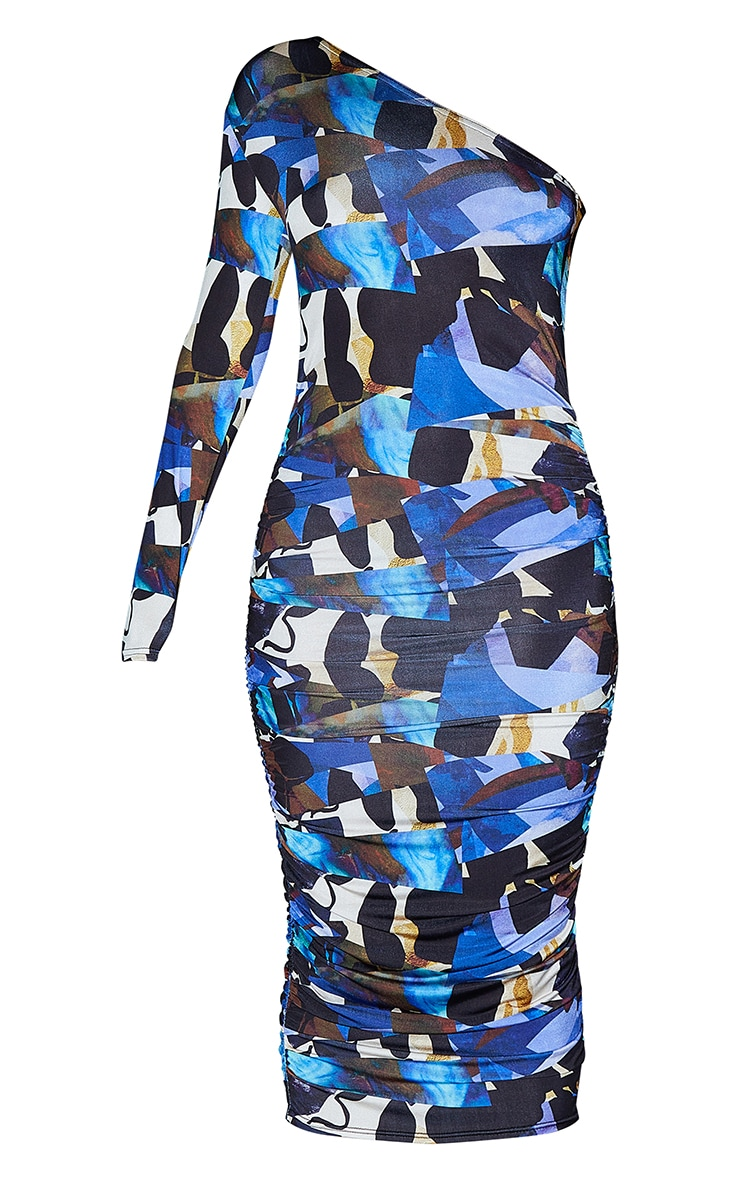 Blue Abstract Print Slinky One Shoulder Ruched Midi Dress 5