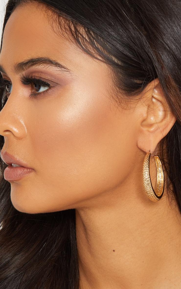 Gold Textured C Shape Drop Earrings 1