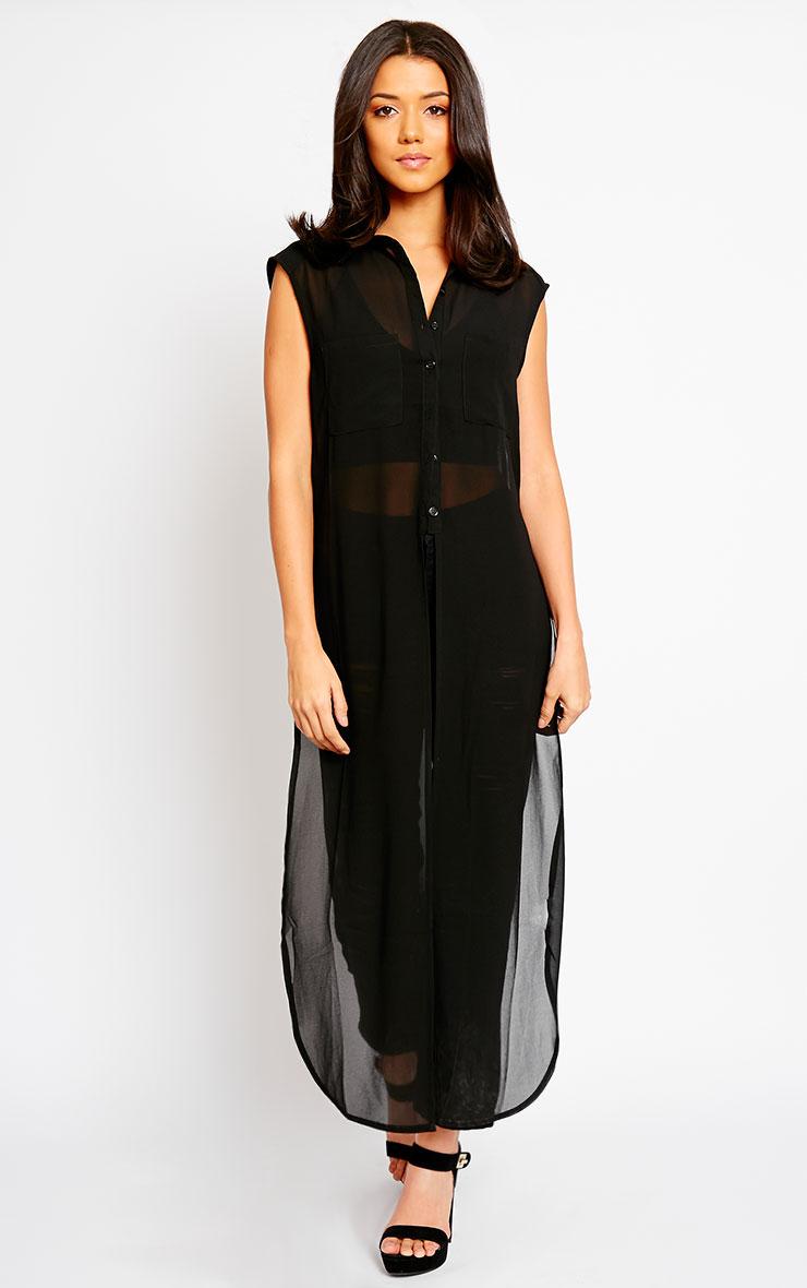 Cyndi Black Cut Out Shirt Dress 4