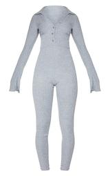 Grey Brushed Rib V Neck Shirt Jumpsuit 5