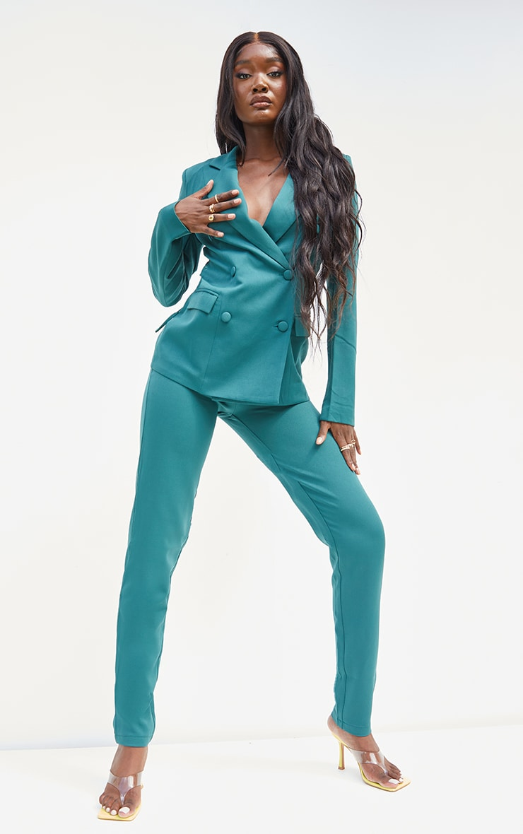 Tall  Green HighWaisted Suit Trousers 1