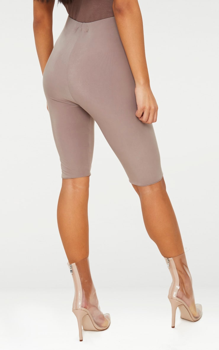 Taupe Slinky Longline Cycle Short  4