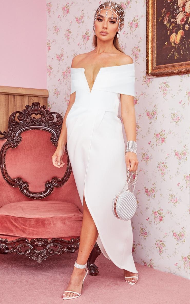 White Scuba V Bar Drape Bardot Maxi Dress 1