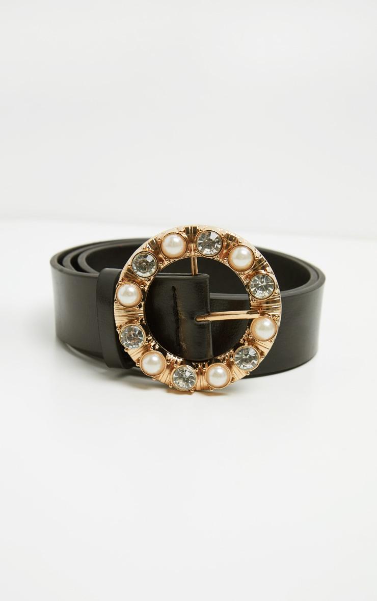 Black Gemstone And Pearl Round Buckle Belt 2