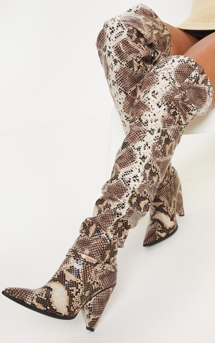 Snake Cone Heel Thigh High Western Boot 2
