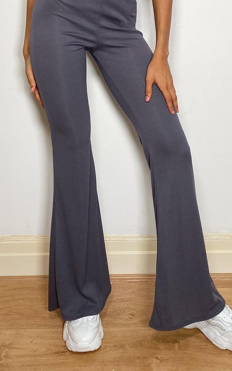 Charcoal Ribbed Flared Pants 2