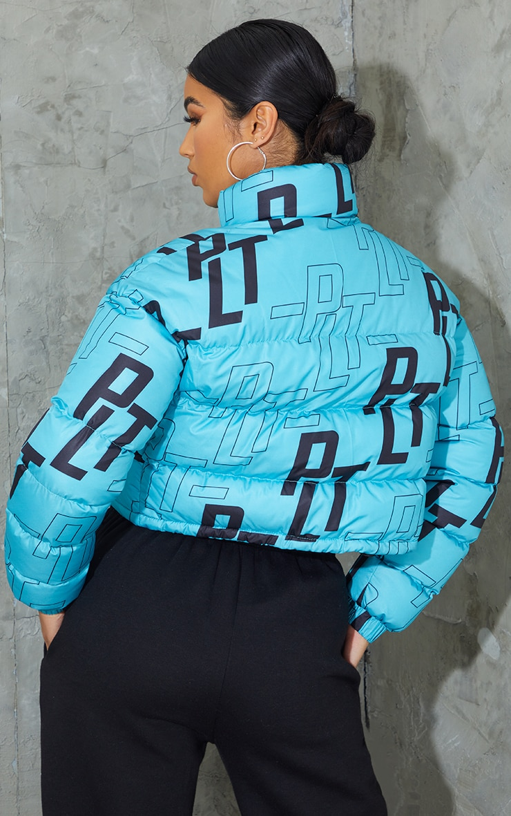 PRETTYLITTLETHING Blue Retro Logo Cropped Puffer 2