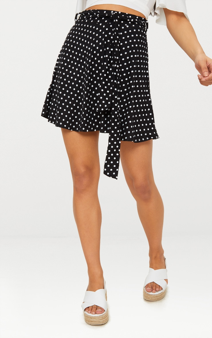 Black Jersey Polkadot Tie Waist Skirt 2