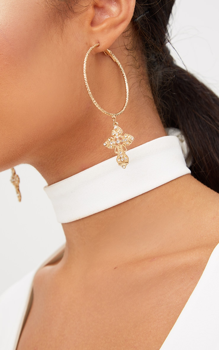 Gold Hoop Cross Diamante Earrings 3