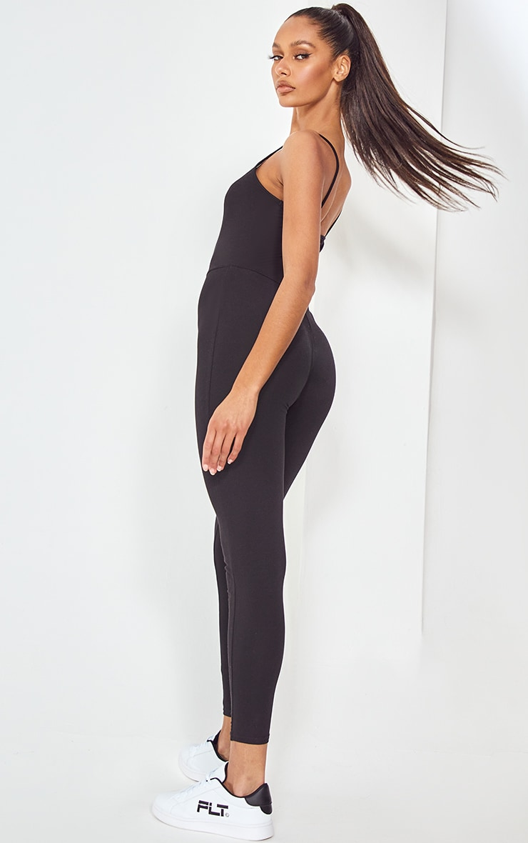 Basic Black Cotton Blend Strappy Plunge Jumpsuit 5