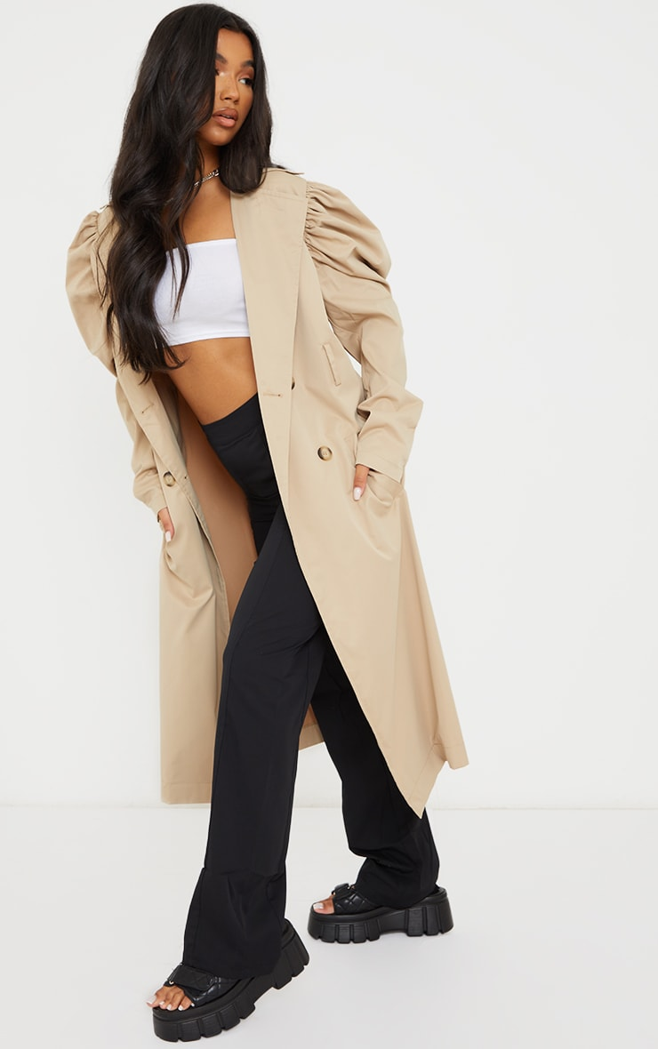 Stone Balloon Sleeve Belted Midi Trench 3