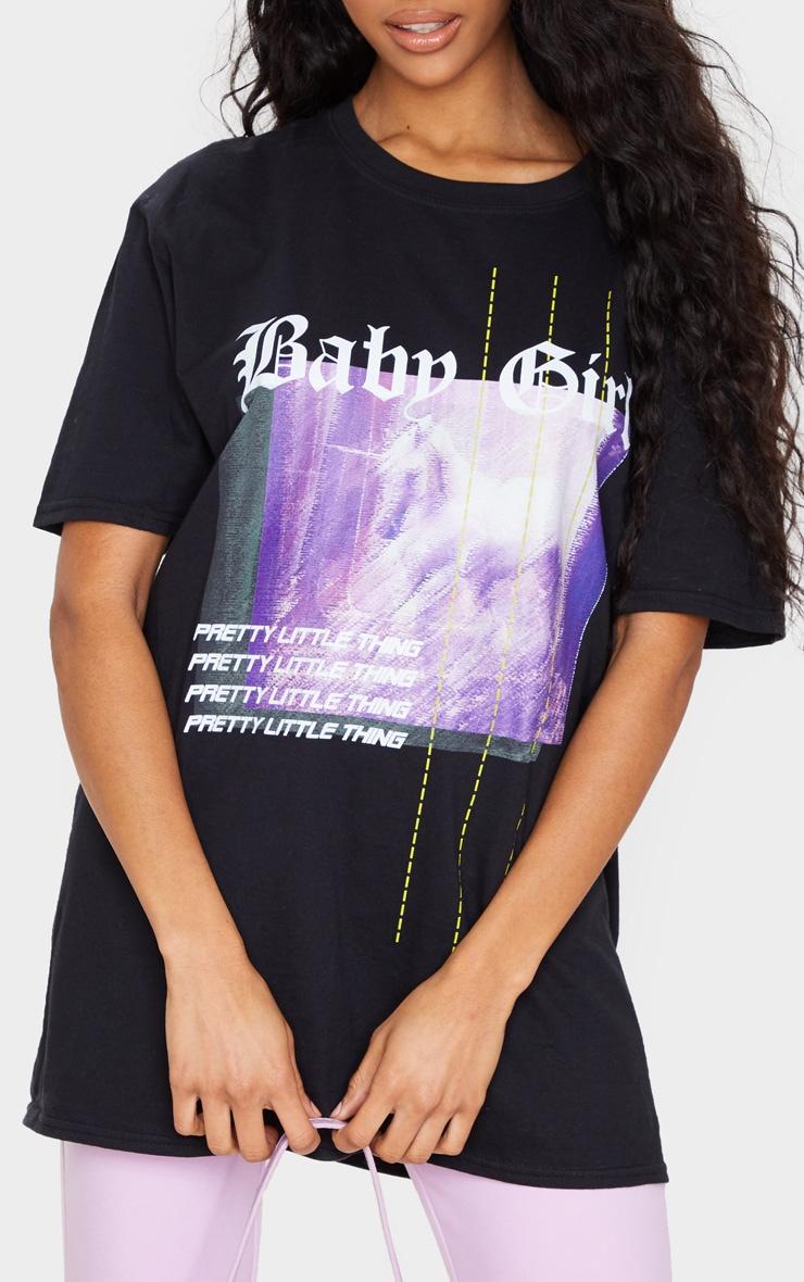 PRETTYLITTLETHING Black Printed Baby Girl T Shirt 4