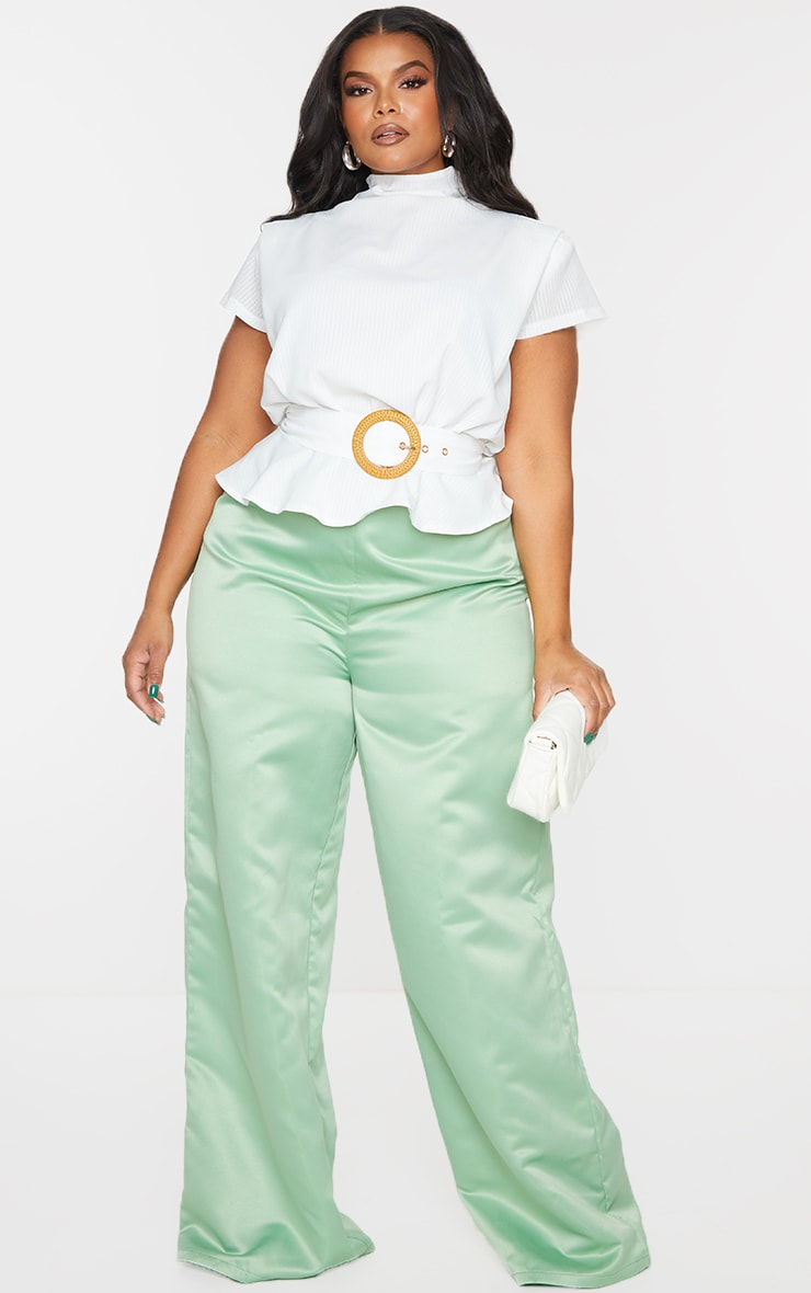 Plus White Satin Sleeveless Shoulder Pad Belted Top 3
