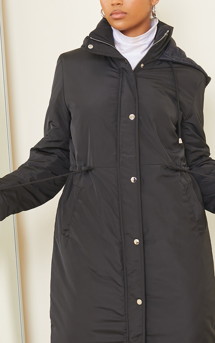Black Nylon Toggle Waist Maxi Hooded Parka Jacket 4