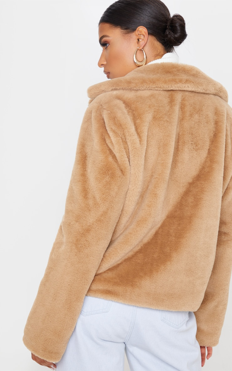 Beige Faux Fur Collar Coat 3