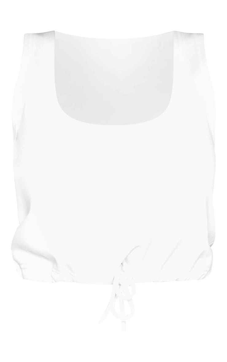 Shape White Sweat Sleeveless Drawstring Crop Top 3