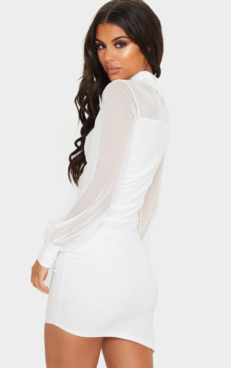White Mesh Bodice Long Sleeve Ruched Bodycon Dress 2