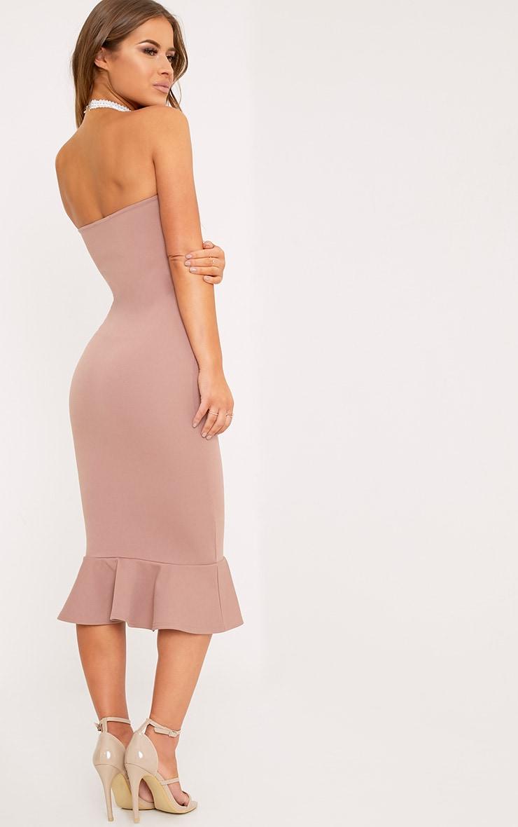 Petite Isabella Truffle Bandeau Frill Hem Midaxi Dress 2