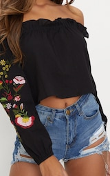 c701186473041 Black Embroidered Cheesecloth Bardot Crop Top image 5
