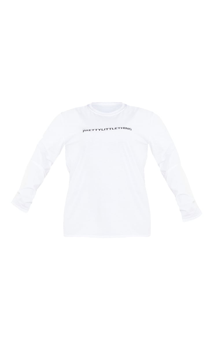 PRETTYLITTLETHING Plus White Slogan Print Long Sleeve T-Shirt 5