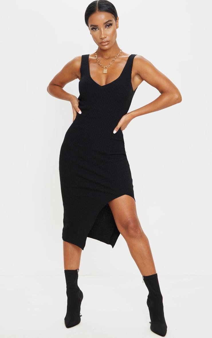 Black V Neck Side Split Knitted Midi Dress 1