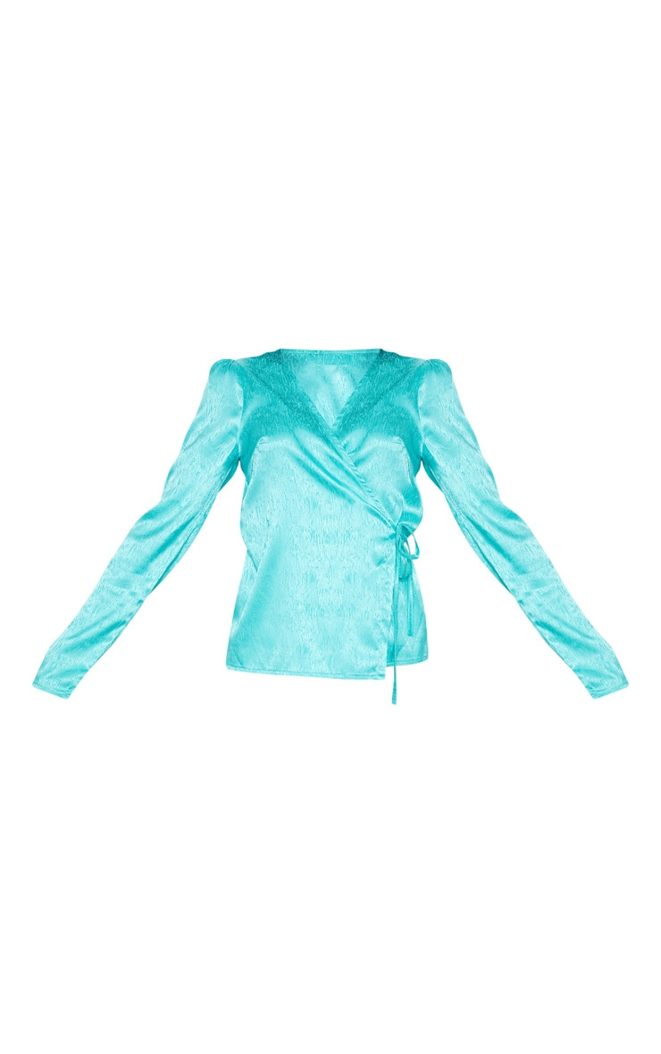 Turquoise Satin Tie Detail Blouse 3