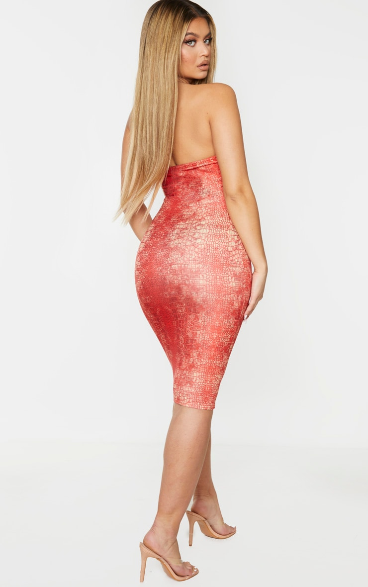 Red Snake Print Binded Detail Clear Strap Midi Dress 2