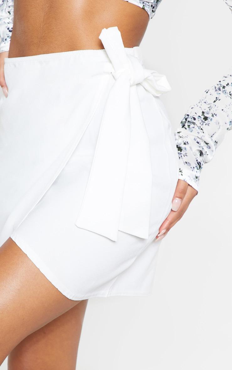 White Wrap Tie Waist Mini Skirt 8