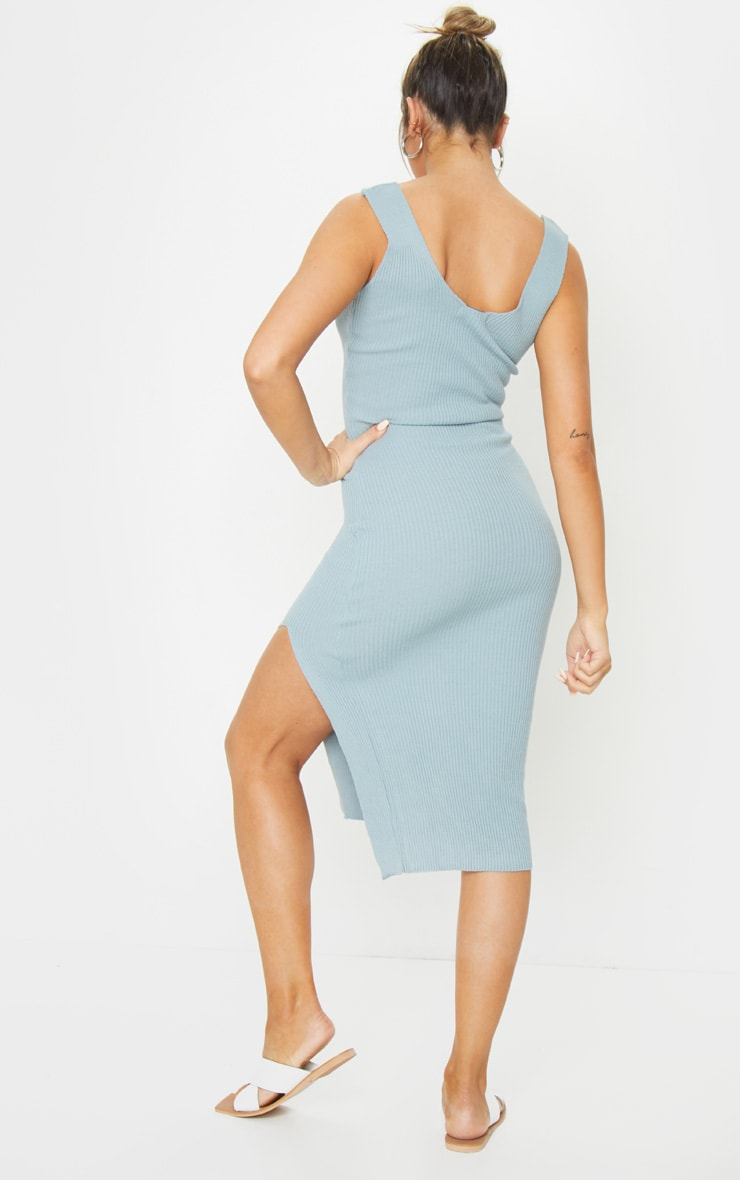 Baby Blue V Neck Side Split Knitted Midi Dress 2