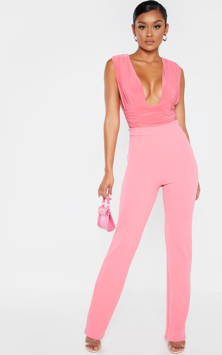 Coral Ruched High Leg Bodysuit 1