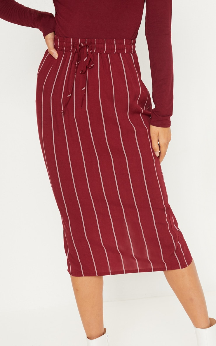 Maroon Casual Midi Skirt 5
