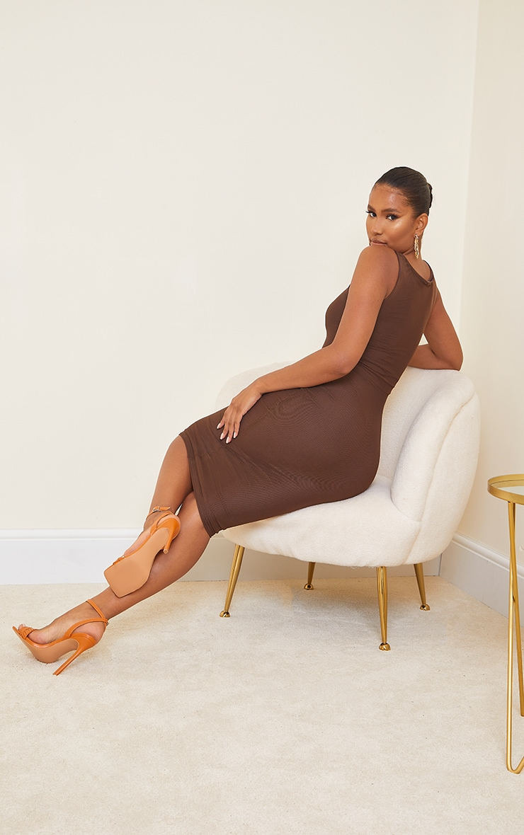 Chocolate Power Mesh Sleeveless Midi Dress 2