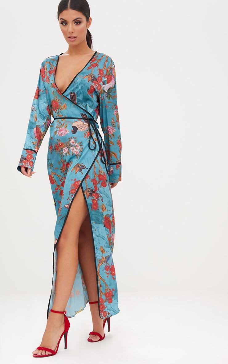Teal Floral Satin Kimono Maxi Dress 1