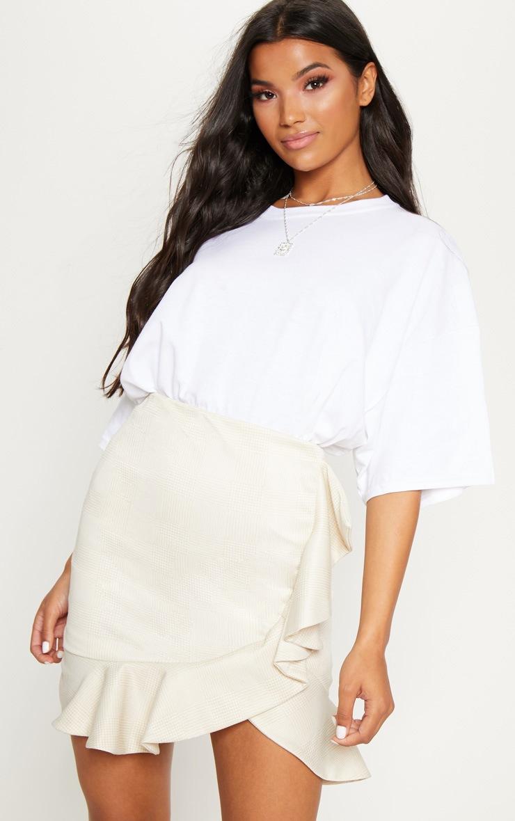 Stone Check Frill Detail Mini Skirt