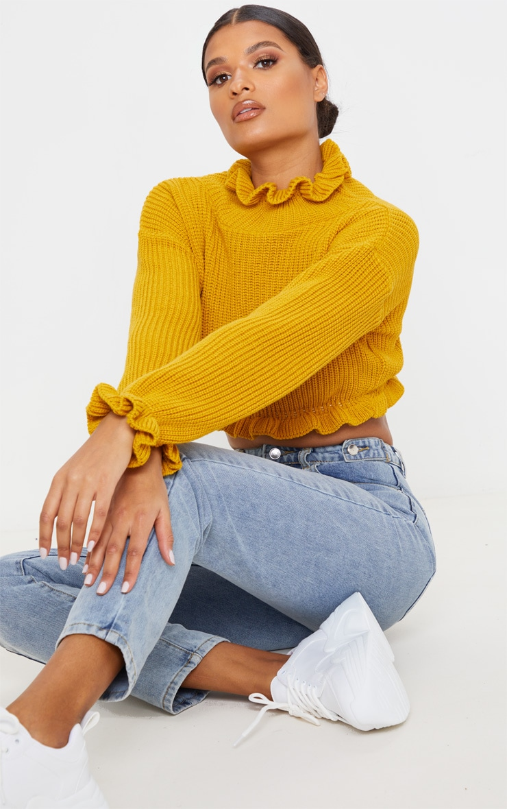 Mustard Knit High Neck Ruffle Trim Crop Jumper 4