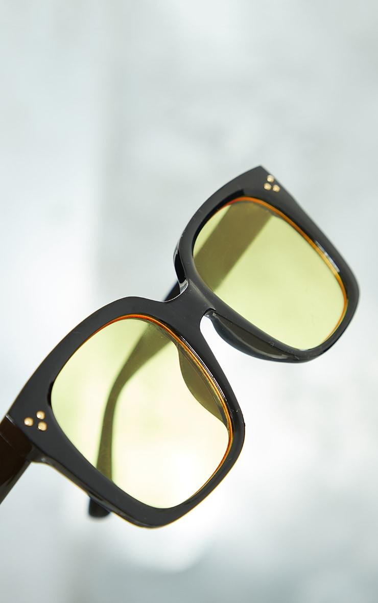 Black Square Frame Yellow Lens Sunglasses 3