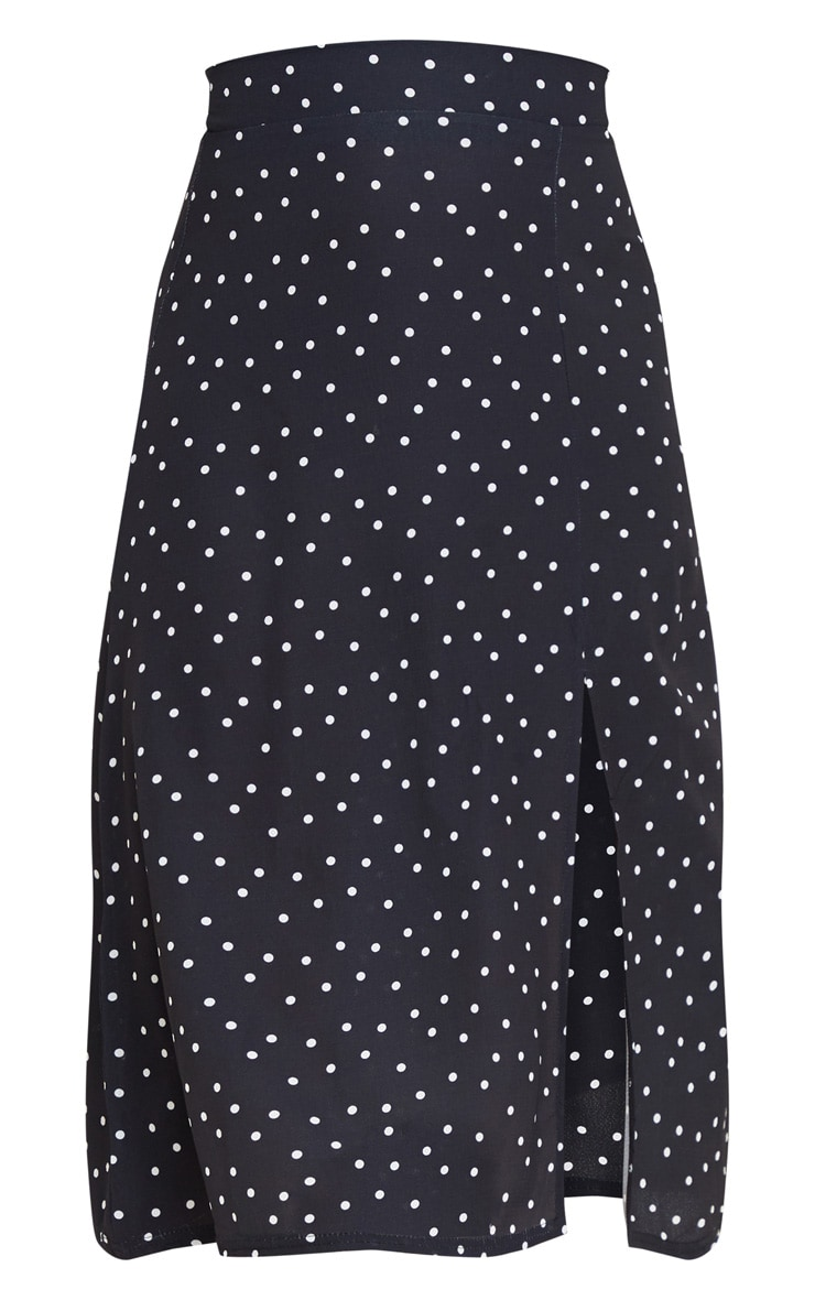 Black Polka Dot Floaty Midi Skirt 5