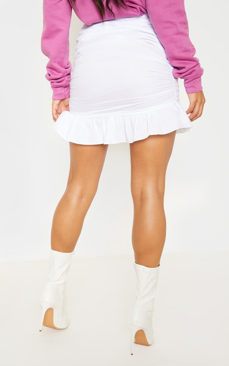 White Woven Ruched Frill Hem Mini Skirt 4