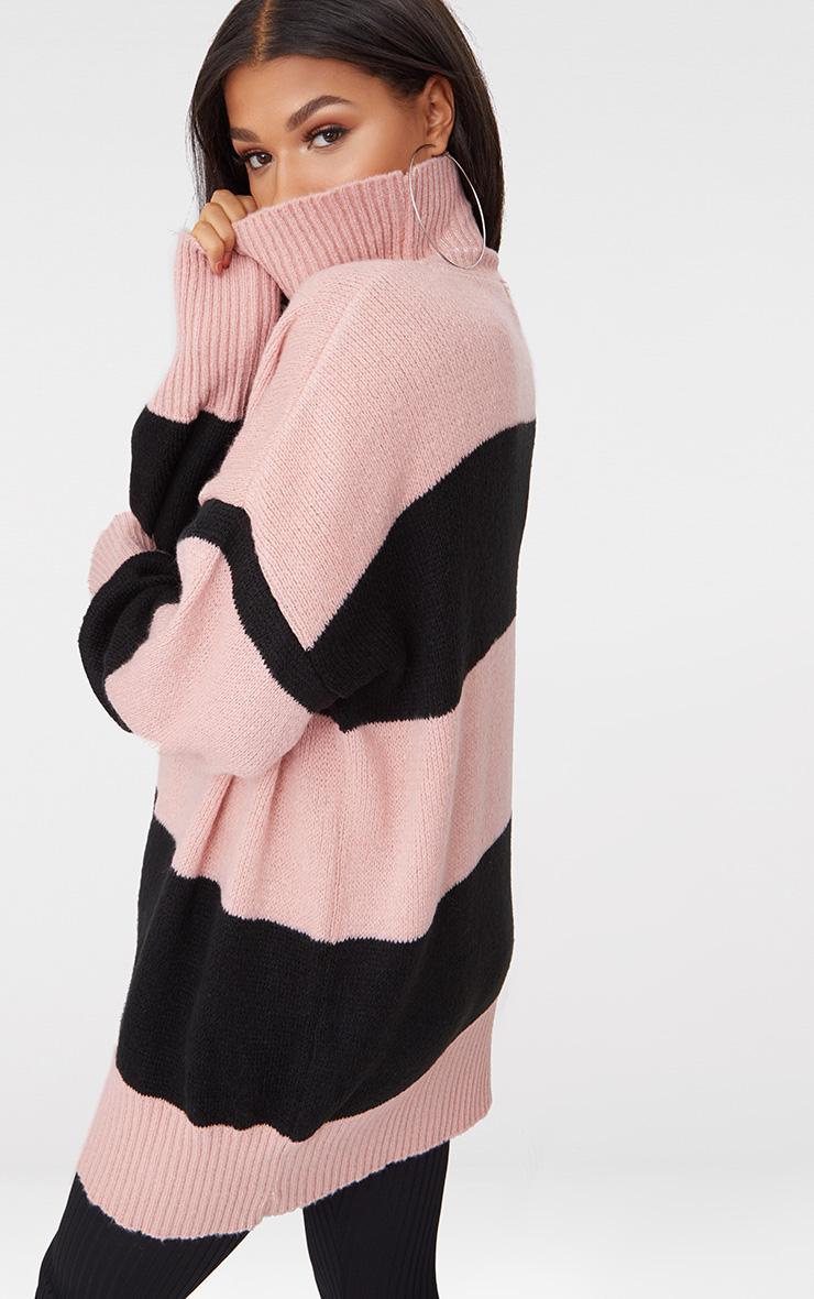 Rose Stripe Oversized Knitted Jumper 2